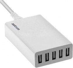 Picture of Astrum CH500 Home Charger 5.0A 5 Usb Eu White