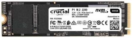 Picture of Crucial P1 500GB 3D NAND NVMe PCIe M.2 SSD