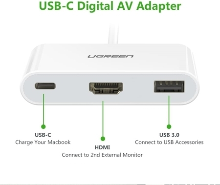Picture of UGREEN USB Type-C to  HDMI, USB 3.0A, USB C, Dock Adapter